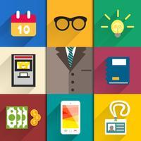 Set di icone di accessori per ufficio