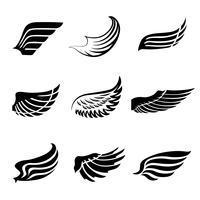 Set di icone di ali di piuma astratta vettore