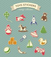 Collezione vintage di adesivi di giocattoli