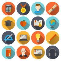 Icone di e-learning piatte