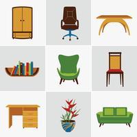 Icone piatte di mobili