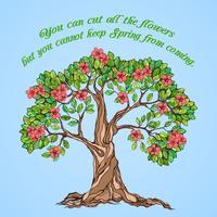 Poster albero di primavera vettore