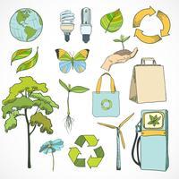 Doodles set di icone di ecologia e ambiente vettore