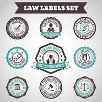 Set di etichette di legge vettore