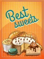 Miglior manifesto di pasticceria dolci vettore