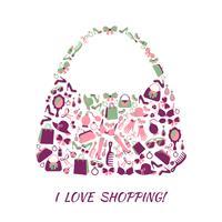 Shopping bag accessori donna vettore