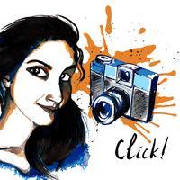 Macchina fotografica hipster ragazza inchiostro