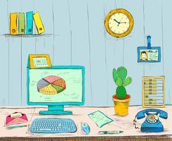 Scrivania interna dell'ufficio del posto di lavoro di affari