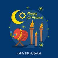 Disegno felice dell'illustrazione di Eid Mubarak felice vettore