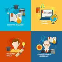 Set di icone piatte di e-learning