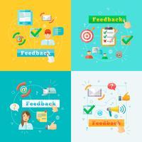 Insieme di elementi di infografica web di feedback vettore