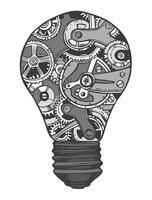 Schizzo della lampadina di ingranaggi vettore