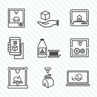 Set di icone della stampante 3d