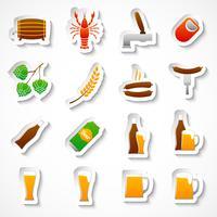 Set di adesivi festa birra alcolica vettore