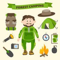 Camping ed elementi di turismo di attività all'aperto vettore