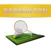 Badminton shuttlecock e emblema della racchetta vettore