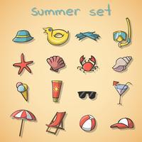 Set di icone di viaggio di vacanze estive