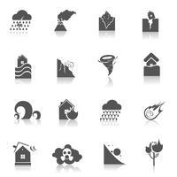 Icone di disastro naturale nere