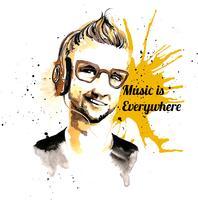 Musica hipster uomo inchiostro
