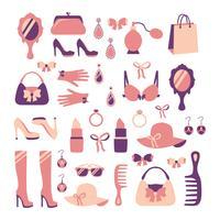 Set di icone di accessori donna vettore