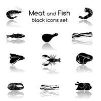 Icone nere di pesce e carne
