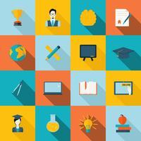 Icone di educazione piatte