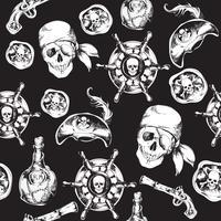 Modello senza cuciture in bianco e nero di pirati