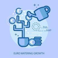 Progettazione concettuale dell'illustrazione di crescita d'innaffiatura dell'euro
