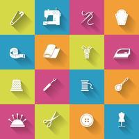 Set di icone di attrezzature per cucire