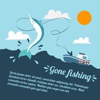 Poster di barca da pesca vettore