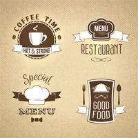 Gli emblemi del menu del ristorante hanno impostato strutturato vettore