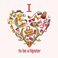 Cuore di schizzo hipster