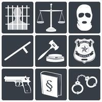 Icone di diritto e giustizia bianche su nero