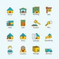 Icone di linea piatta immobiliare vettore