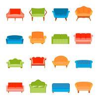 Icona del divano piatta vettore