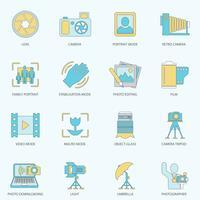 Linea piatta icone di fotografia vettore