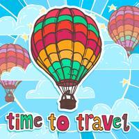 Poster di viaggio con palloncino vettore