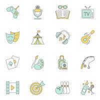 Icone di divertimenti piatte vettore