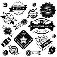 Etichette di vendita nere vettore