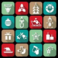 Icone di Natale impostate piatte