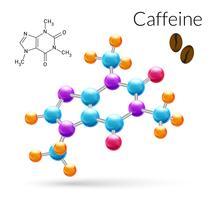 Molecola di caffeina 3d vettore
