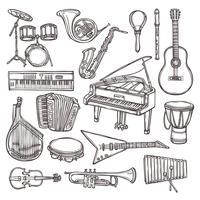 Icona di schizzo di strumenti musicali