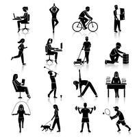 Icone di attività fisica nere vettore