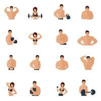 Icone di bodybuilding fitness palestra piatte vettore