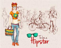 Folla di ragazze hipster vettore