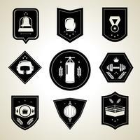 Emblemi di pugilato set nero vettore