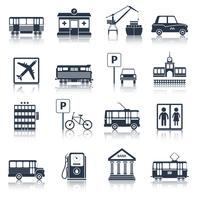 Icone di infrastrutture di città nere