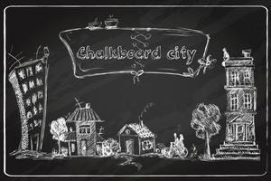 Doodle di città lavagna vettore
