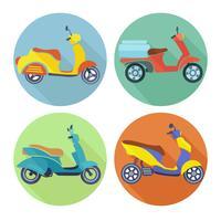 set piatto icona di scooter
