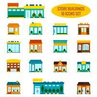 Set di icone di edificio negozio